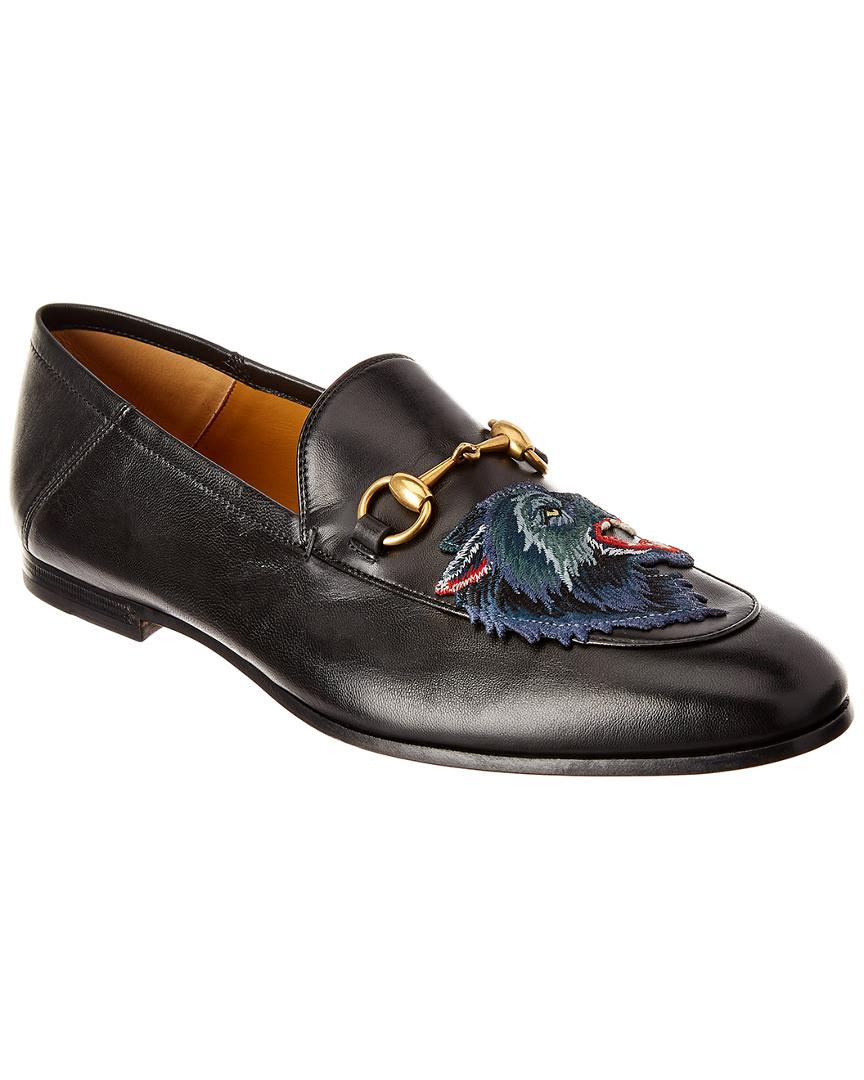 b520468e1b7 Gucci Brixton Angry Wolf Applique Leather Loafer in Black for Men ...