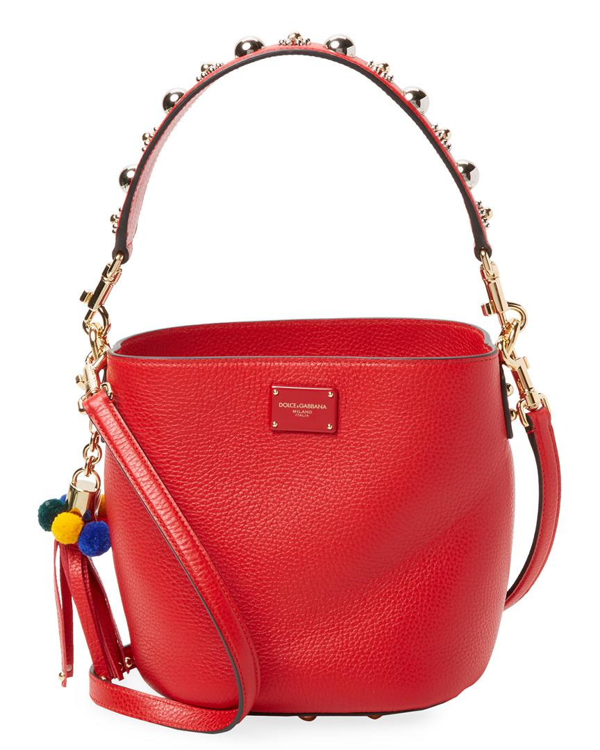 Dolce   Gabbana Studded Leather Bucket Bag in Red - Lyst f005d79b327fa