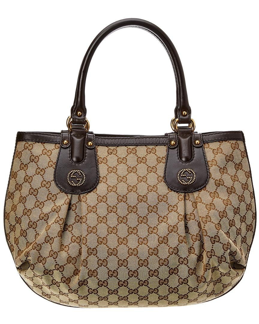 Gucci Brown GG Canvas   Leather Scarlett Tote in Brown - Lyst 675f025529395