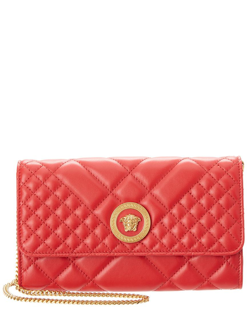 24d51390f11f Versace Medusa Quilted Leather Wallet On Chain in Red - Lyst