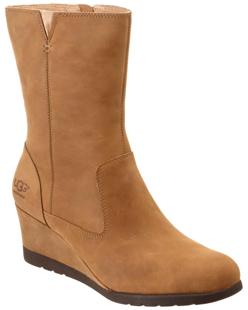 7a0ad53d763 Lyst - Ugg Women s Joely Waterproof Leather Wedge Boot in Brown