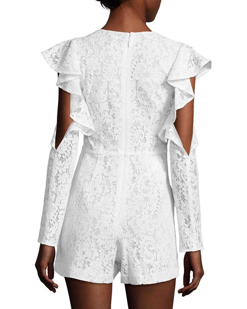 e6b25616a5d Lyst - Bcbgmaxazria Lace Ruffle Sleeve Romper in White