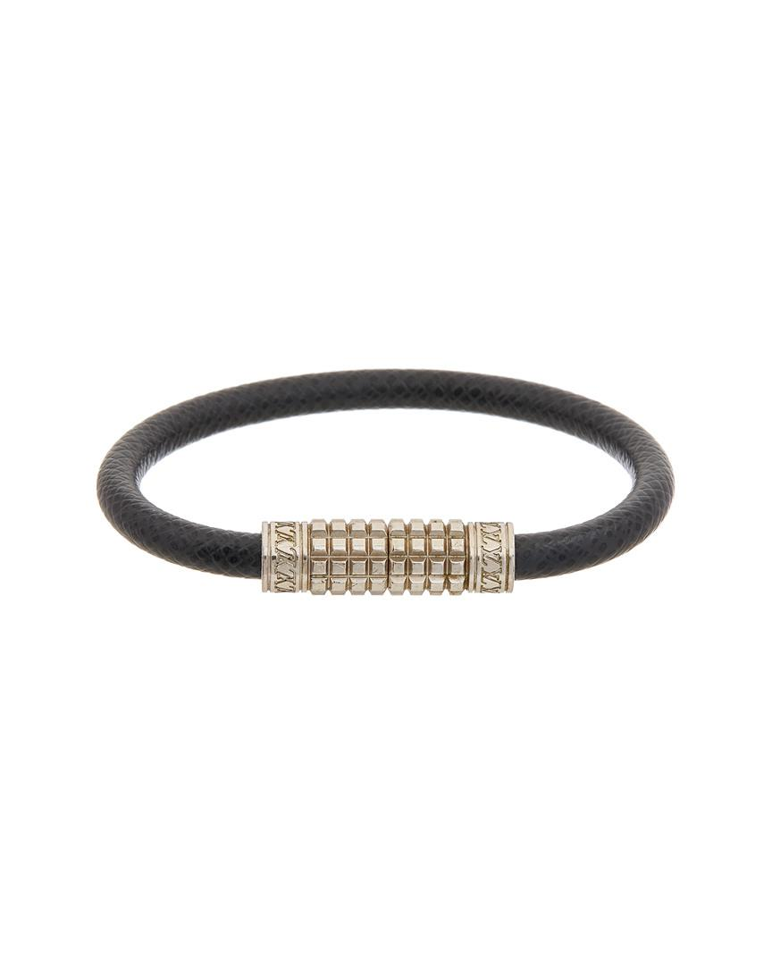 Louis Vuitton Women S Black Taiga Leather Digit Bracelet