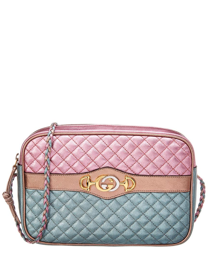 47c6afb81f1 Lyst - Gucci Small Laminated Leather Shoulder Bag in Pink