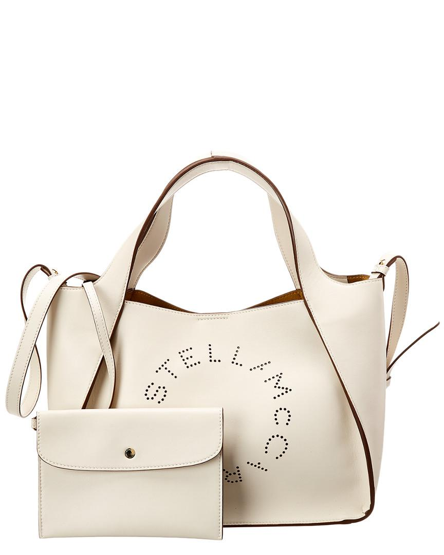0fd811865cbc9 Lyst - Stella McCartney Perforated Logo Tote in White - Save ...