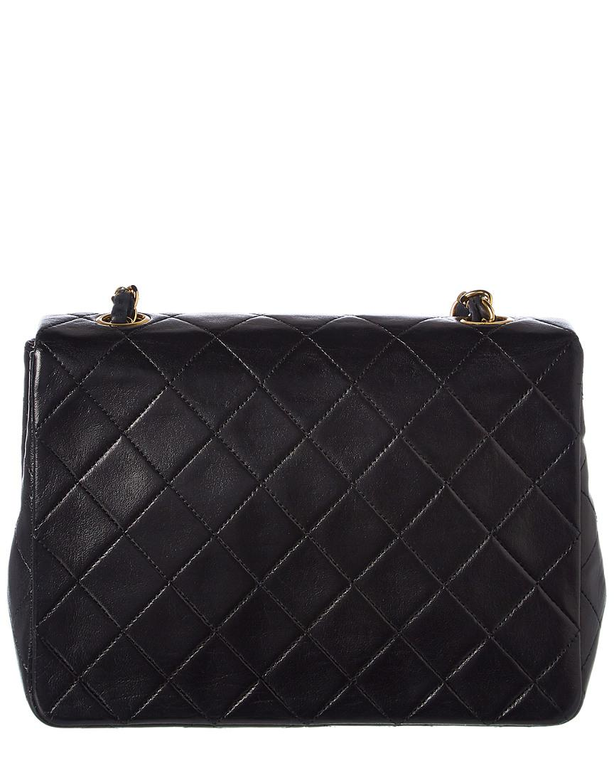 94bb838b9a20 Chanel Black Quilted Lambskin Leather Small Half Flap Bag in Black - Lyst