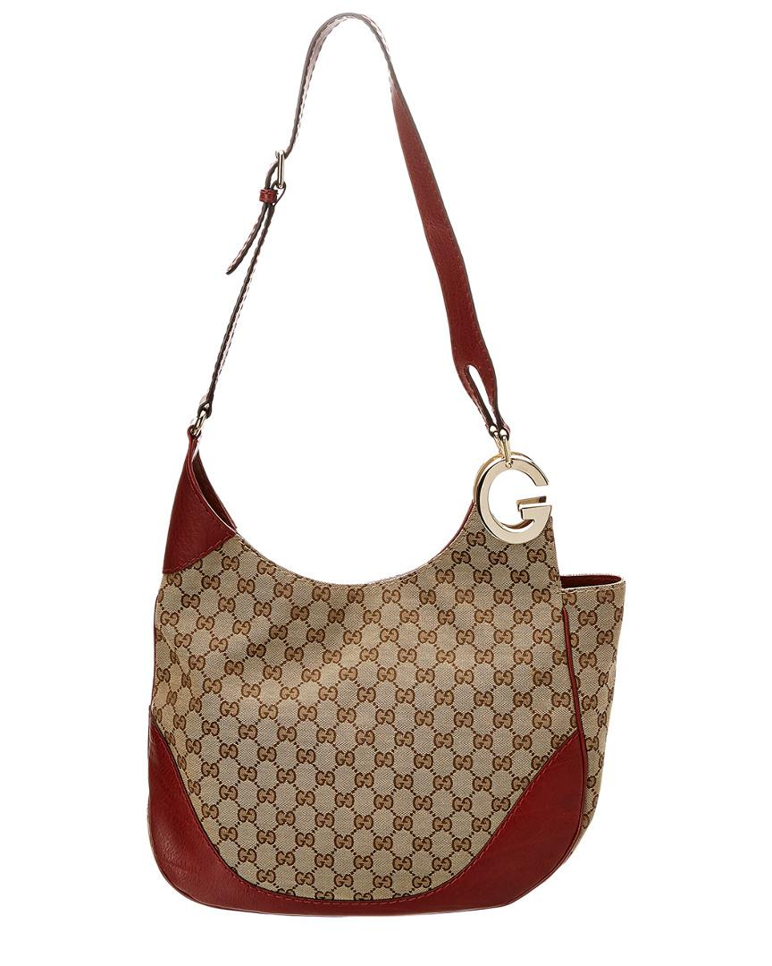 2b8a9e815 Gucci Brown GG Canvas & Red Leather Charlotte Hobo in Brown - Lyst