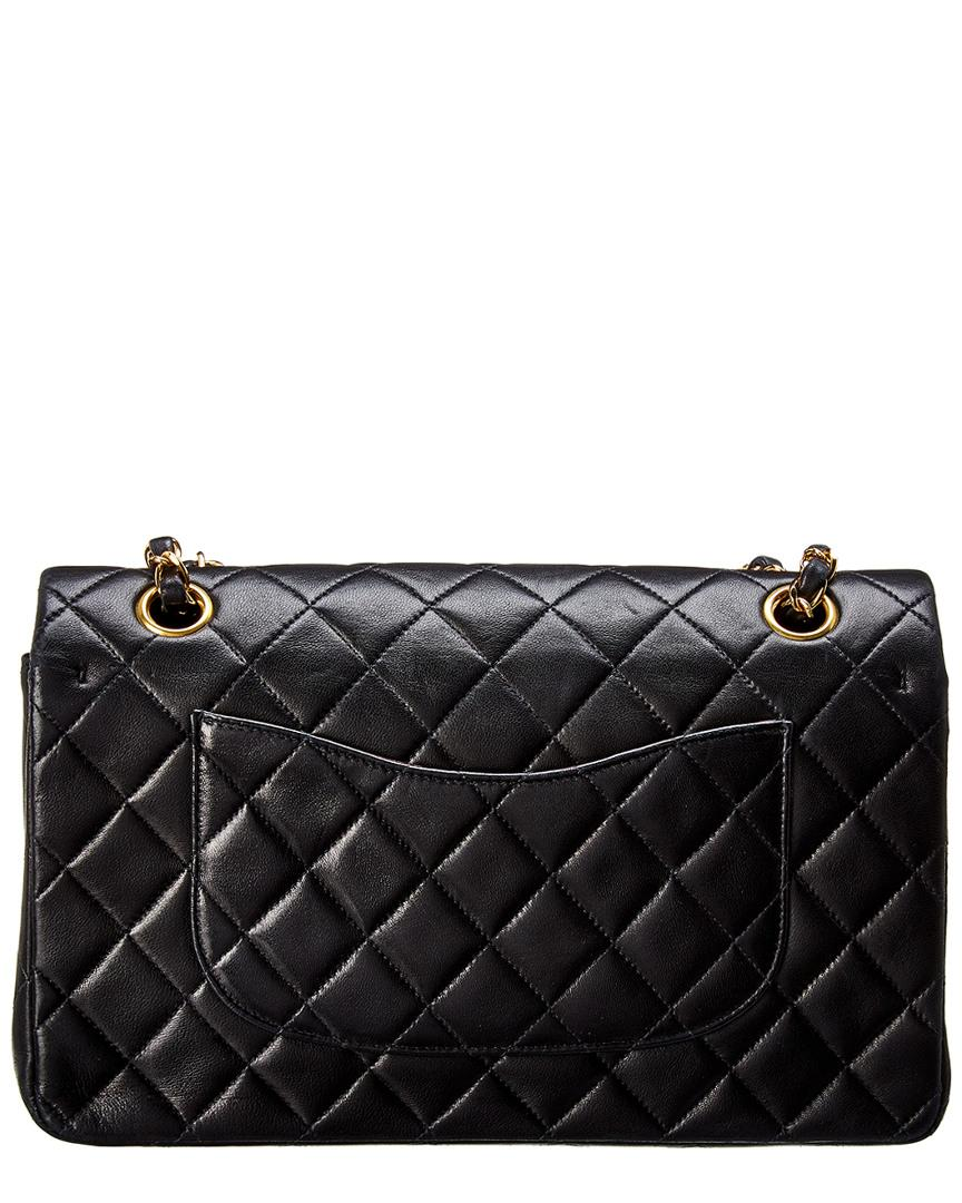 0a6387fd2ee4 Lyst - Chanel Black Quilted Lambskin Leather Medium Double Flap Bag in Black
