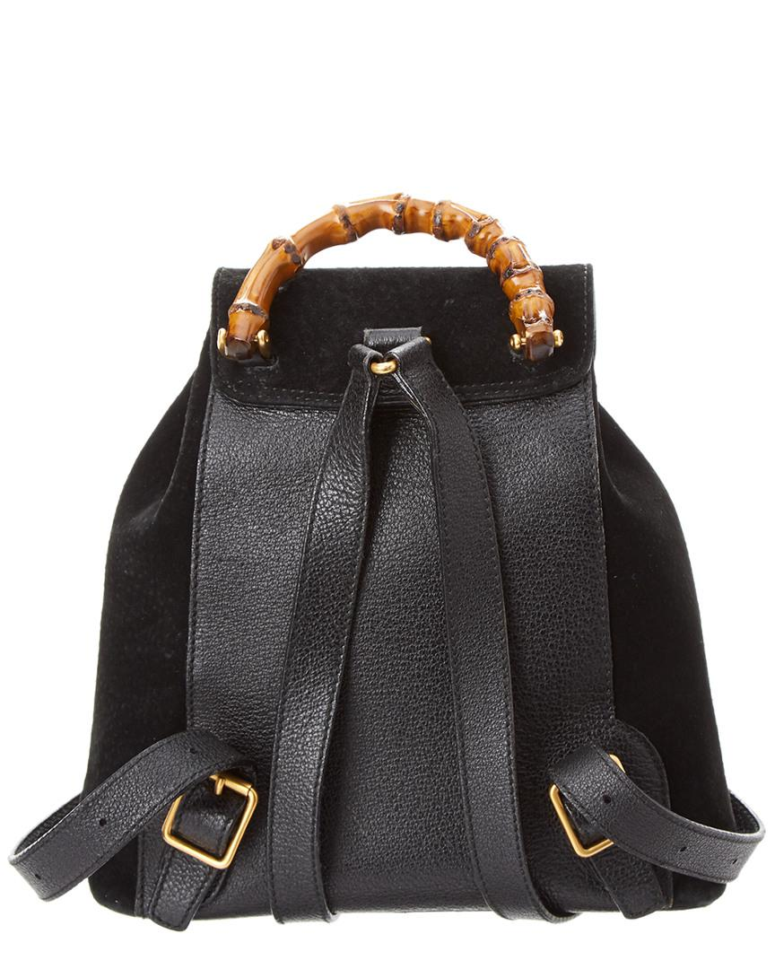 Lyst - Gucci Black Suede   Leather Bamboo Backpack in Black 4d5e6817df096