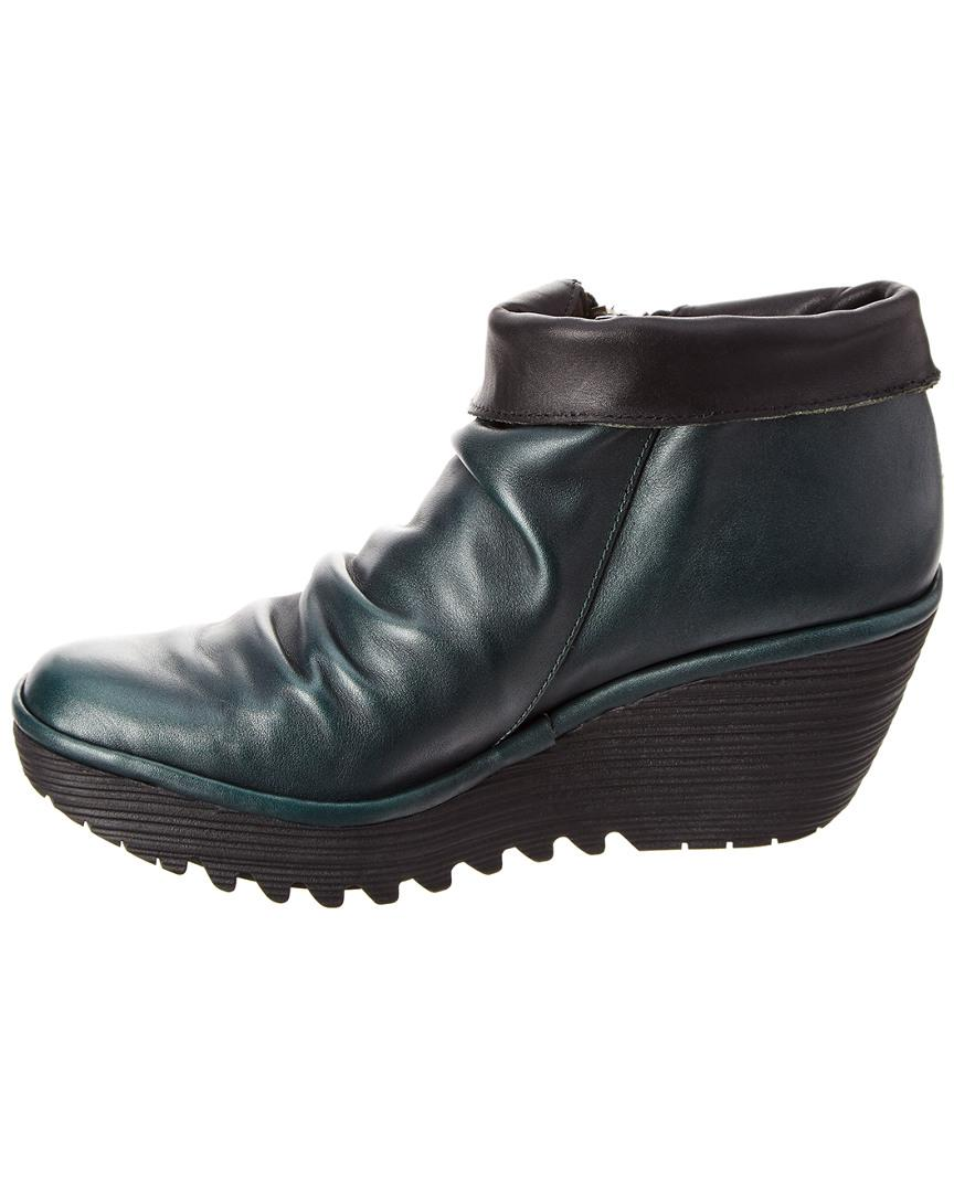 d23b68399b8 Lyst - Fly London Yoxi Leather Wedge Bootie in Green - Save  33.84615384615384%