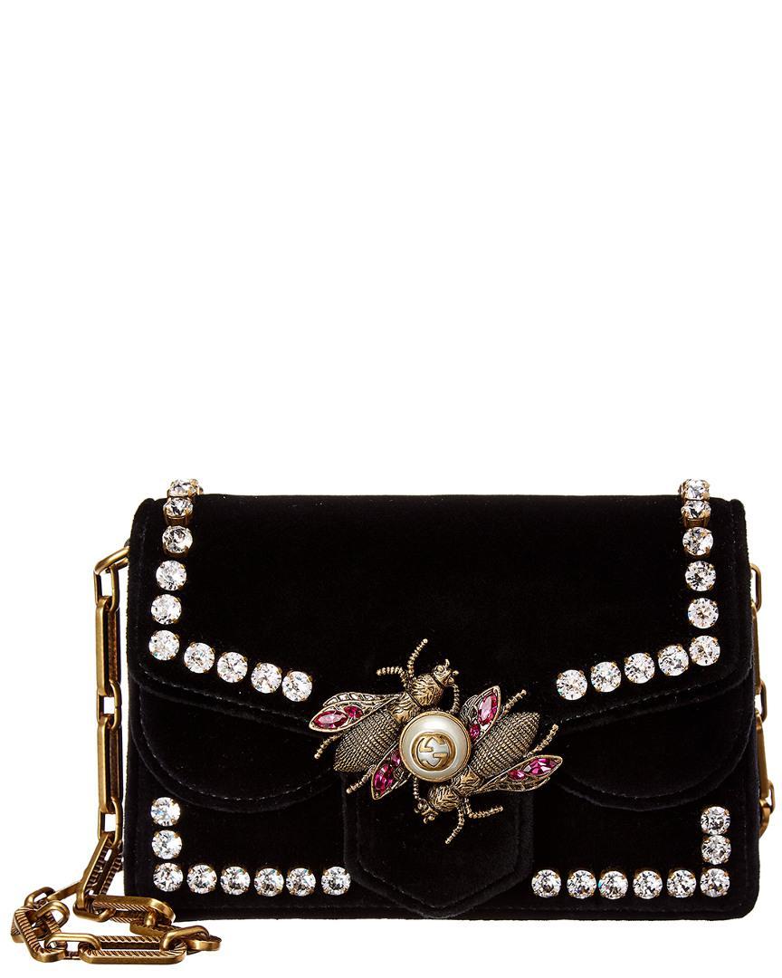 Lyst - Gucci Broadway Bee Velvet Shoulder Bag in Black - Save 21% 14c93461b7638
