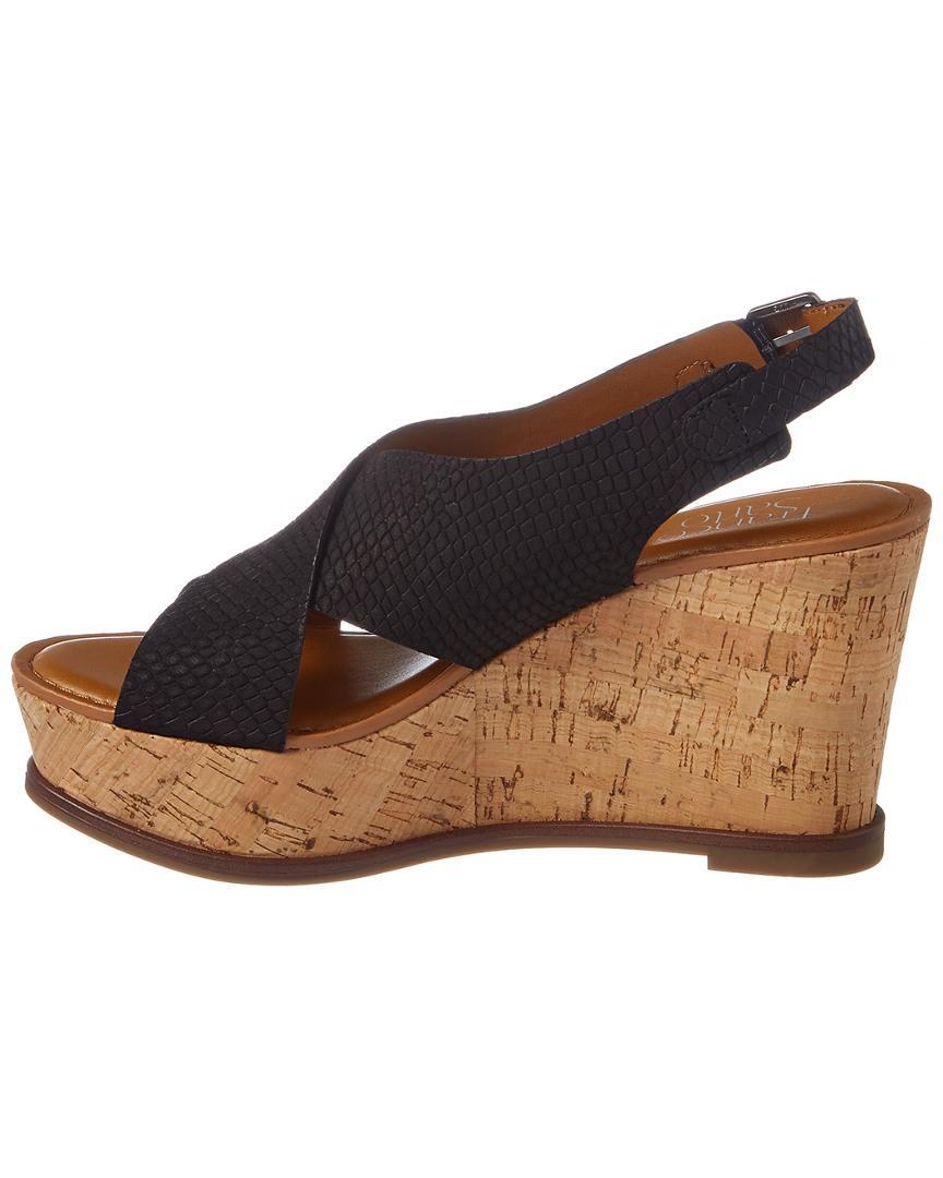 7bf832e17c4 Franco Sarto Mackenzie Leather Wedge Sandal in Black - Lyst