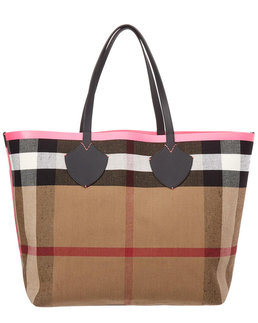 c9ed6f92c35e Lyst - Burberry Giant Reversible Canvas Check   Leather Tote