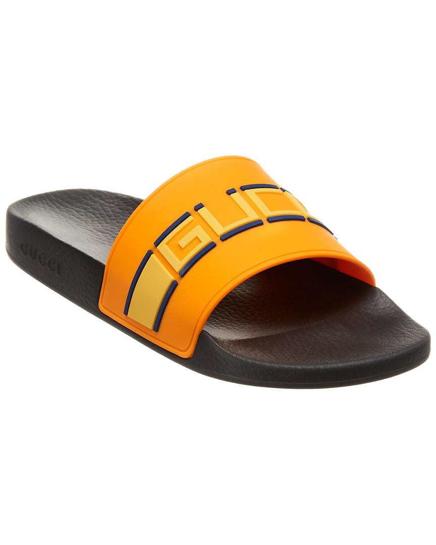 cca48ea6548 Gucci Rubber Slide in Orange for Men - Lyst