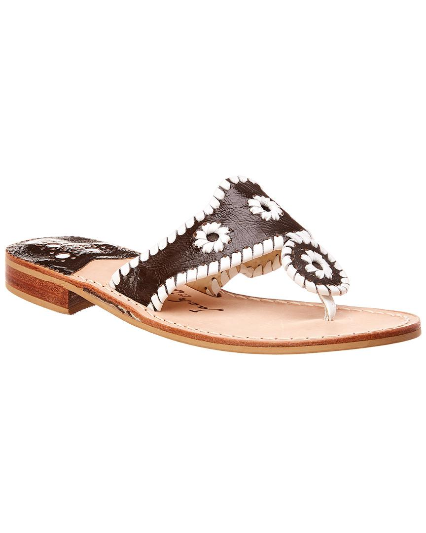f823404cd8b7 Lyst - Jack Rogers Patent Sandal in Brown