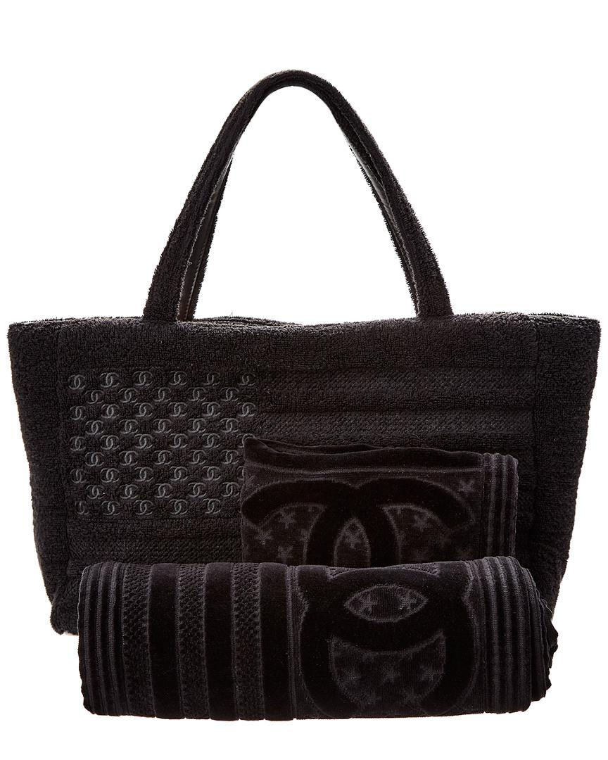 Lyst - Chanel Limited Edition Black Terry Cloth Beach Tote   Towel ... 88b947513bb1f