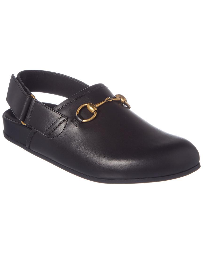 3c2c659f7 Gucci River Horsebit Leather Slipper in Black for Men - Lyst