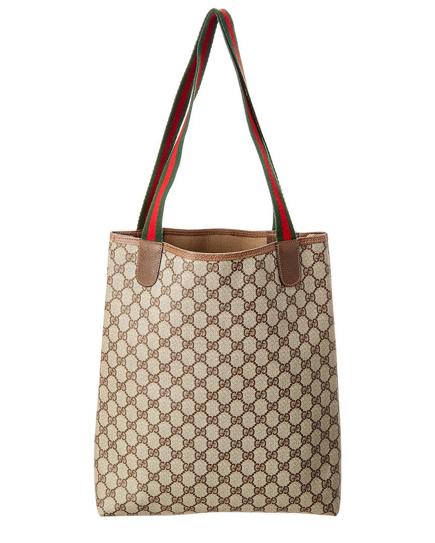 f8de04d4c408e Gucci GG Supreme Canvas   Leather Tote in Brown - Lyst