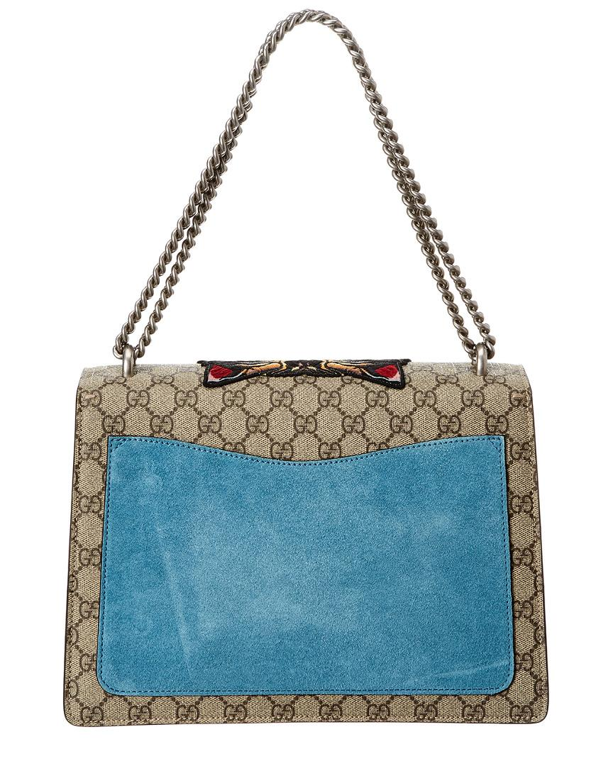 c73999737ba Lyst - Gucci Dionysus Tiger Embroidered GG Supreme Canvas   Suede Shoulder  Bag in Blue