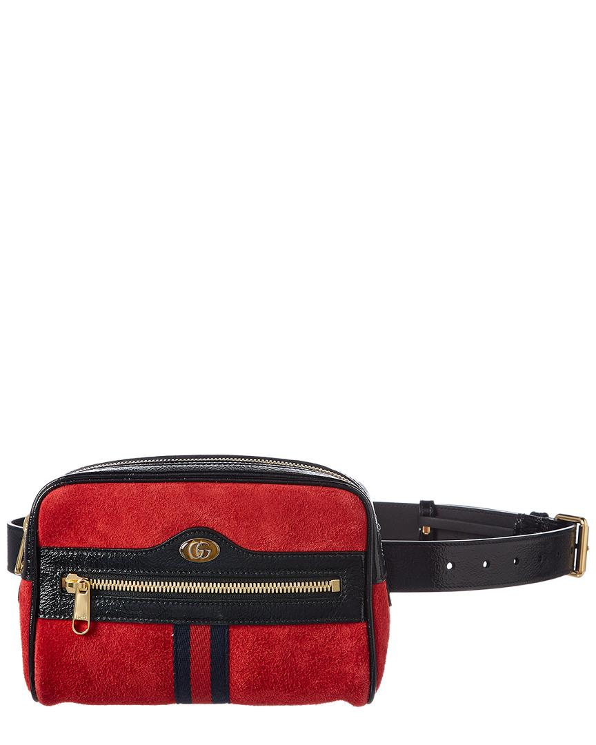 0fceeca6617 Lyst - Gucci Ophidia Small Suede   Leather Belt Bag in Red