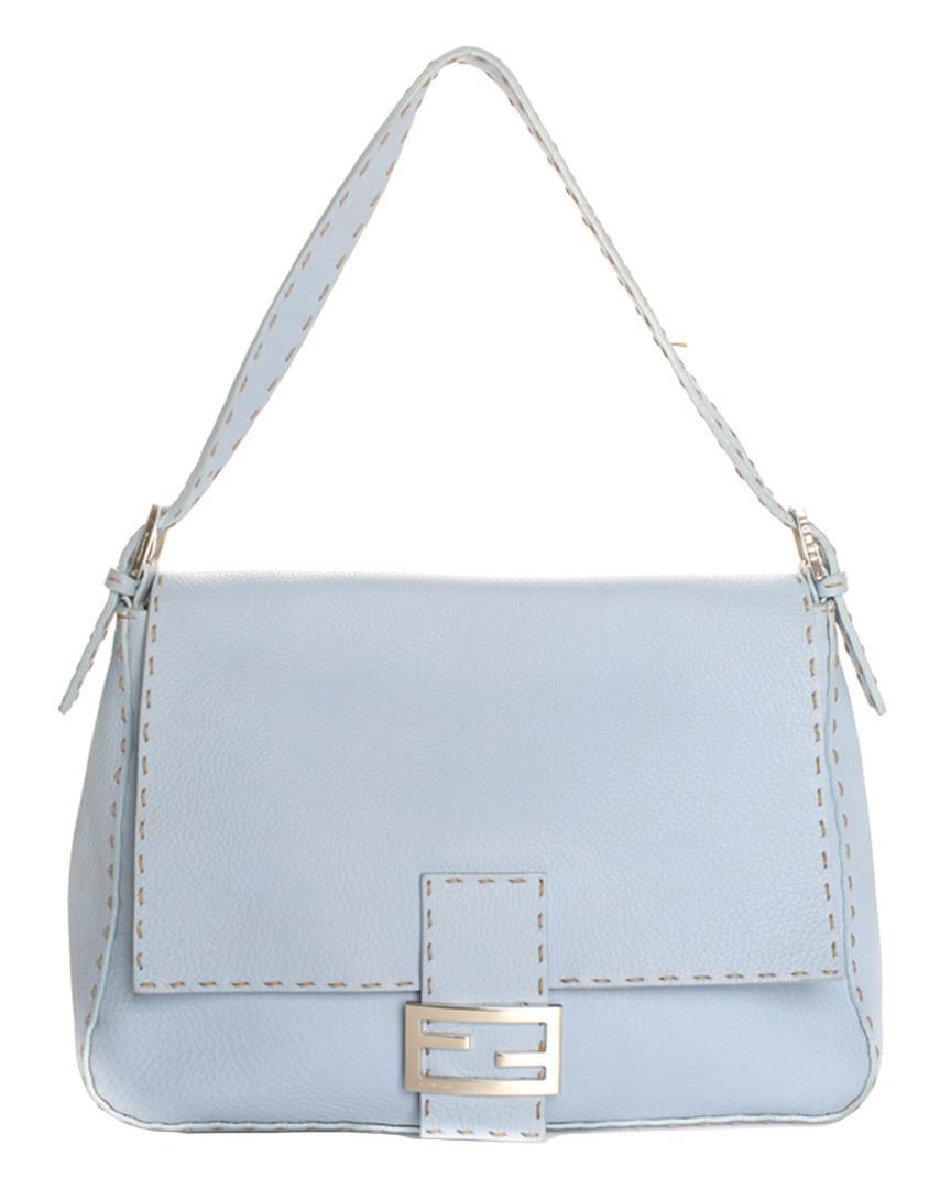 3a9f6cf2dfd4 Lyst - Fendi Blue Leather Selleria Mama Forever Bag in Blue