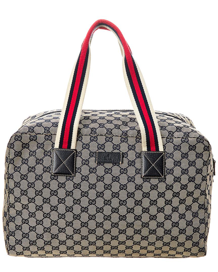 58b0b0f34233 Lyst - Gucci Navy GG Canvas & Leather Web Duffle Bag for Men
