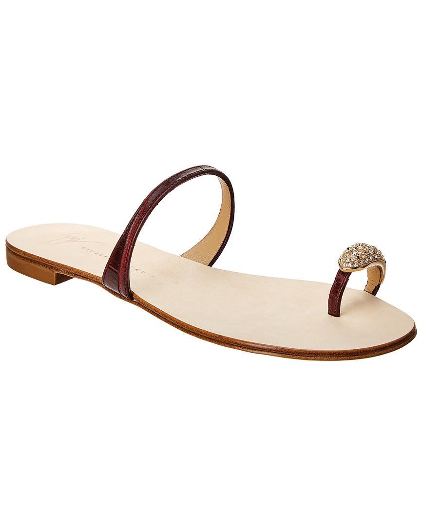 d13c45bd7bf59 Giuseppe Zanotti Nuvo Rock Jeweled Toe Ring Leather Sandal in Brown ...