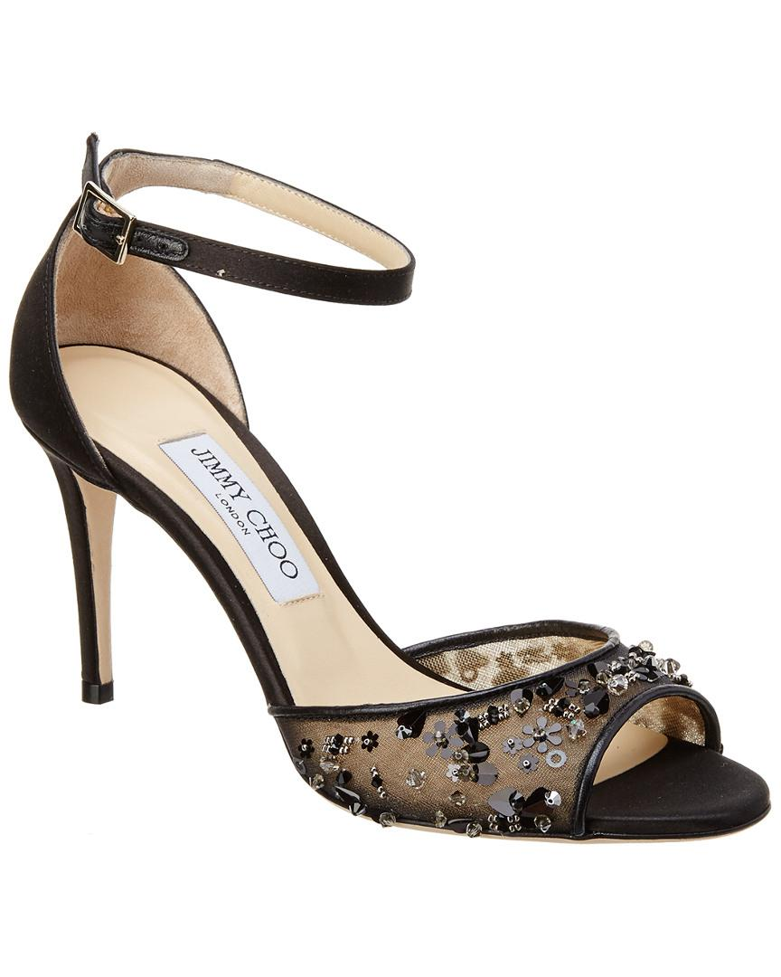 39b86d29b Lyst - Jimmy Choo Annie 85 Mesh   Satin Sandal in Black - Save 38%