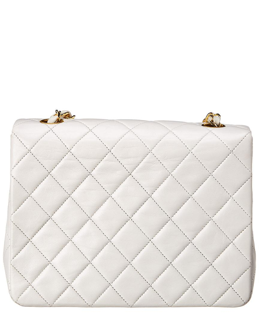 e91a0b47afb3 Lyst - Chanel White Quilted Lambskin Leather Small Half Flap Bag in White