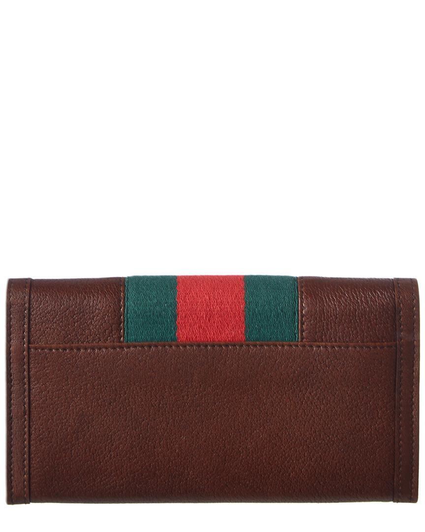 3693cf76f9c Gucci Brown Leather Continental Web Wallet in Brown - Lyst