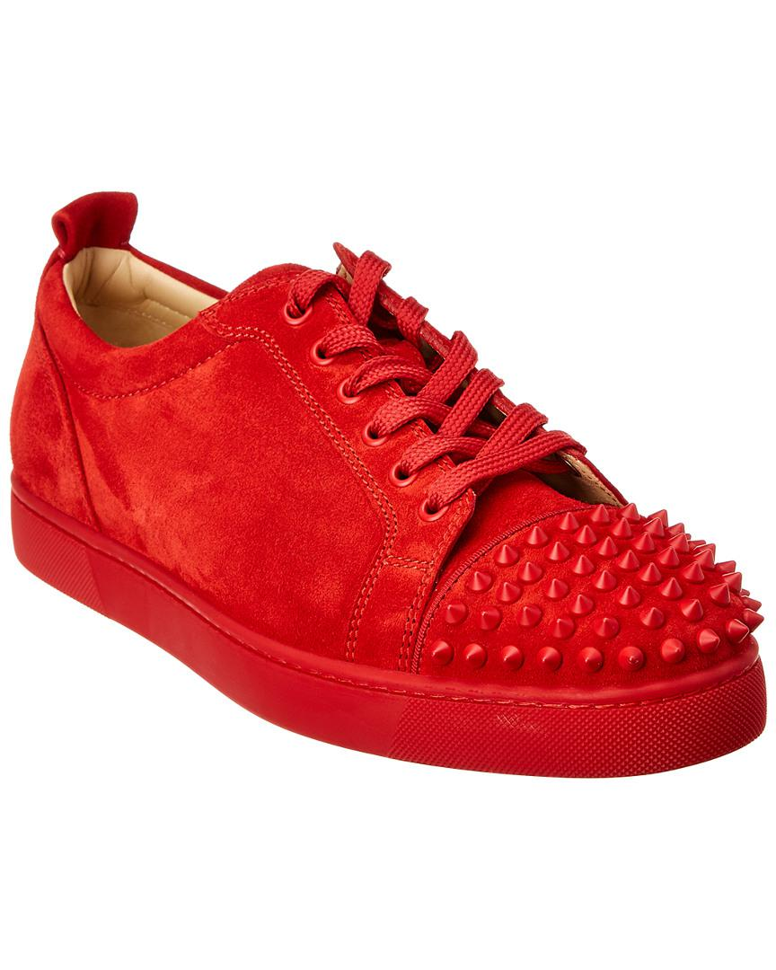 b2639470be8 Lyst - Christian Louboutin Red Suede Louis Junior Spikes Sneakers in ...