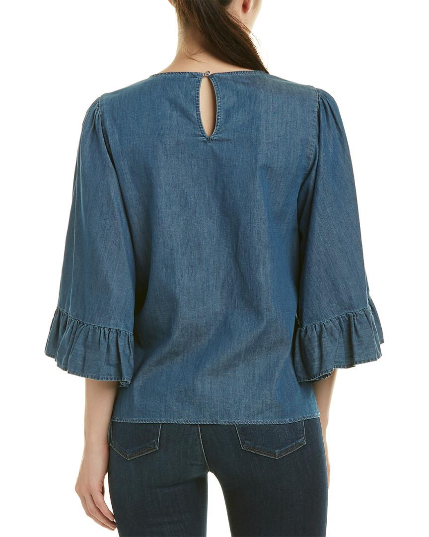 86066a4414b90 Lyst - Cece By Cynthia Steffe Top in Blue - Save 65.21739130434783%