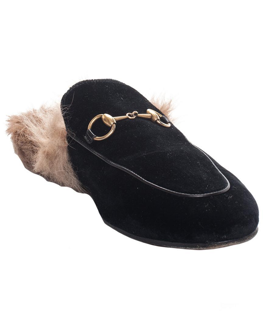 e3245d5603e Lyst - Gucci Black Velvet Princetown Mule Loafers (size 38)