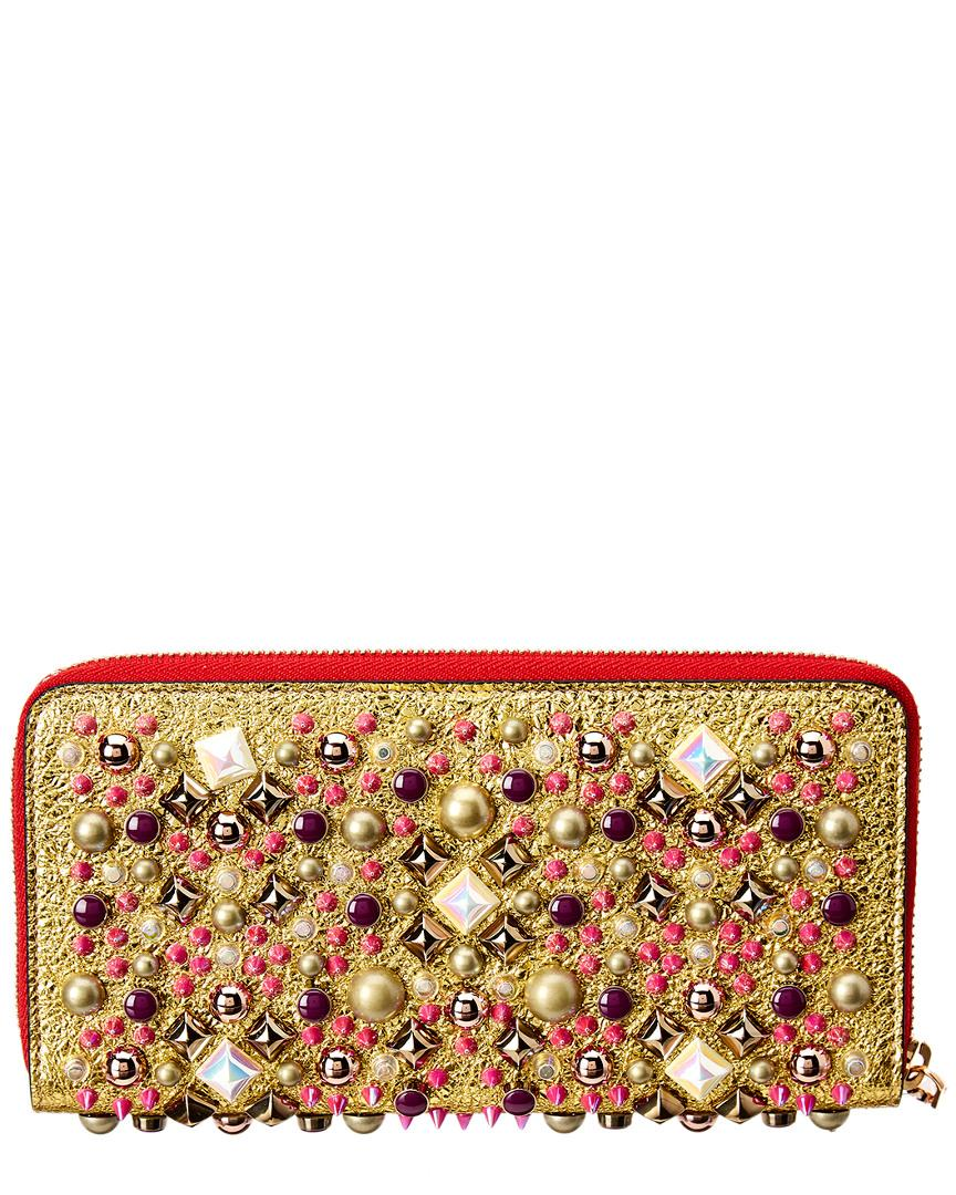 b19a357730c Lyst - Christian Louboutin Panettone Studded Leather Zip Around Wallet in  Metallic - Save 34%