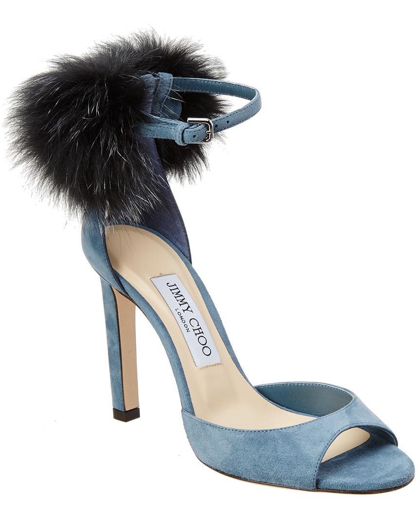 6f11ae44807 Jimmy Choo Suri 100 Suede Pompom Sandal in Blue - Save ...