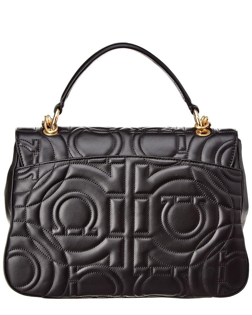 9983af062c1 Ferragamo Quilted Gancini Leather Flap Bag in Black - Lyst
