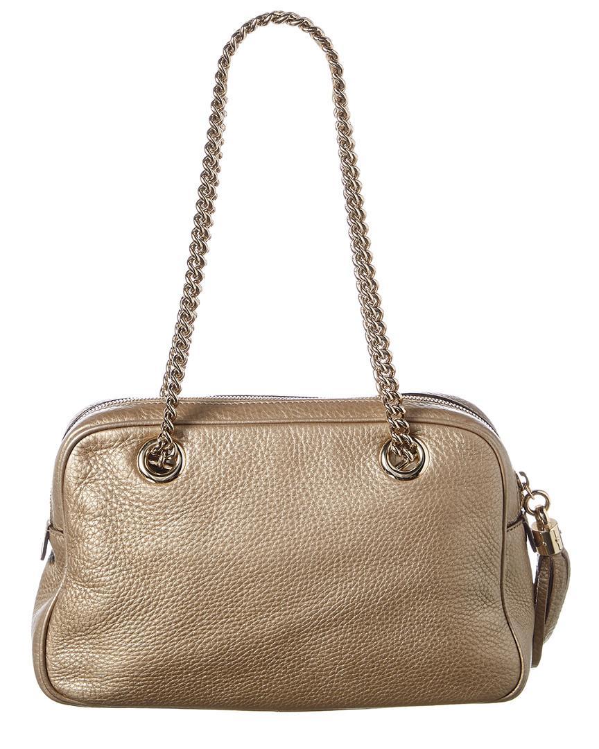 b4a4808ff519 Gucci Bronze Calfskin Leather Soho Chain Shoulder Bag - Lyst