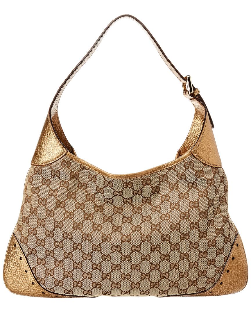 5e681c91bb095f Lyst - Gucci Gold GG Canvas & Leather Hobo Bag in Brown