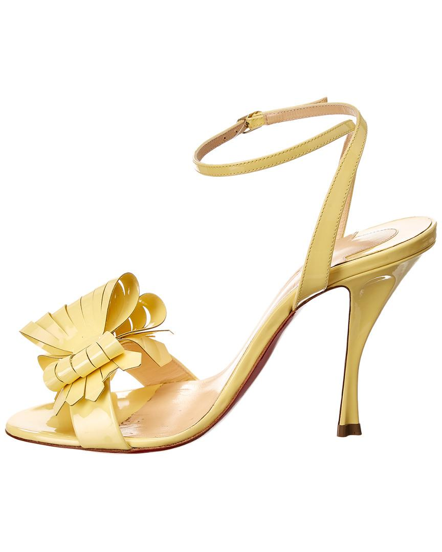 70d7278eecf Lyst - Christian Louboutin Miss Valois 100 Patent Sandal in Yellow - Save  31%
