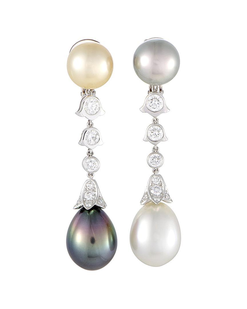 Cartier Women S Platinum Pearl Drop Earrings