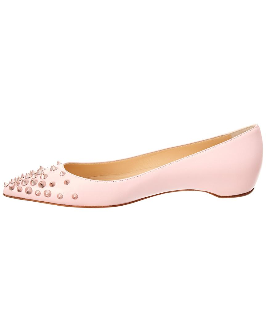 8c9d84d46c8 Christian Louboutin Spikyshell Leather Ballet Flat in Pink - Save  35.8695652173913% - Lyst