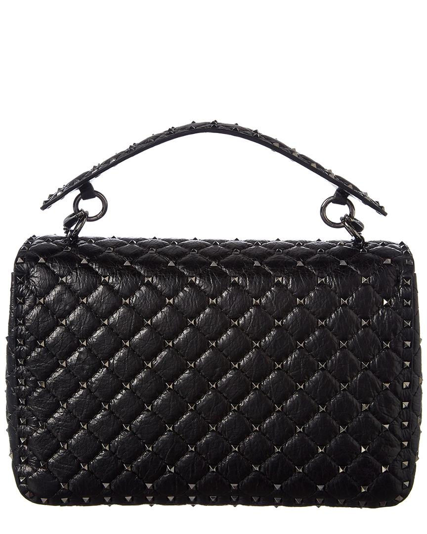 12d6ae18f4f Valentino Rockstud Spike Large Cracked Lambskin Leather Shoulder Bag in  Black - Lyst