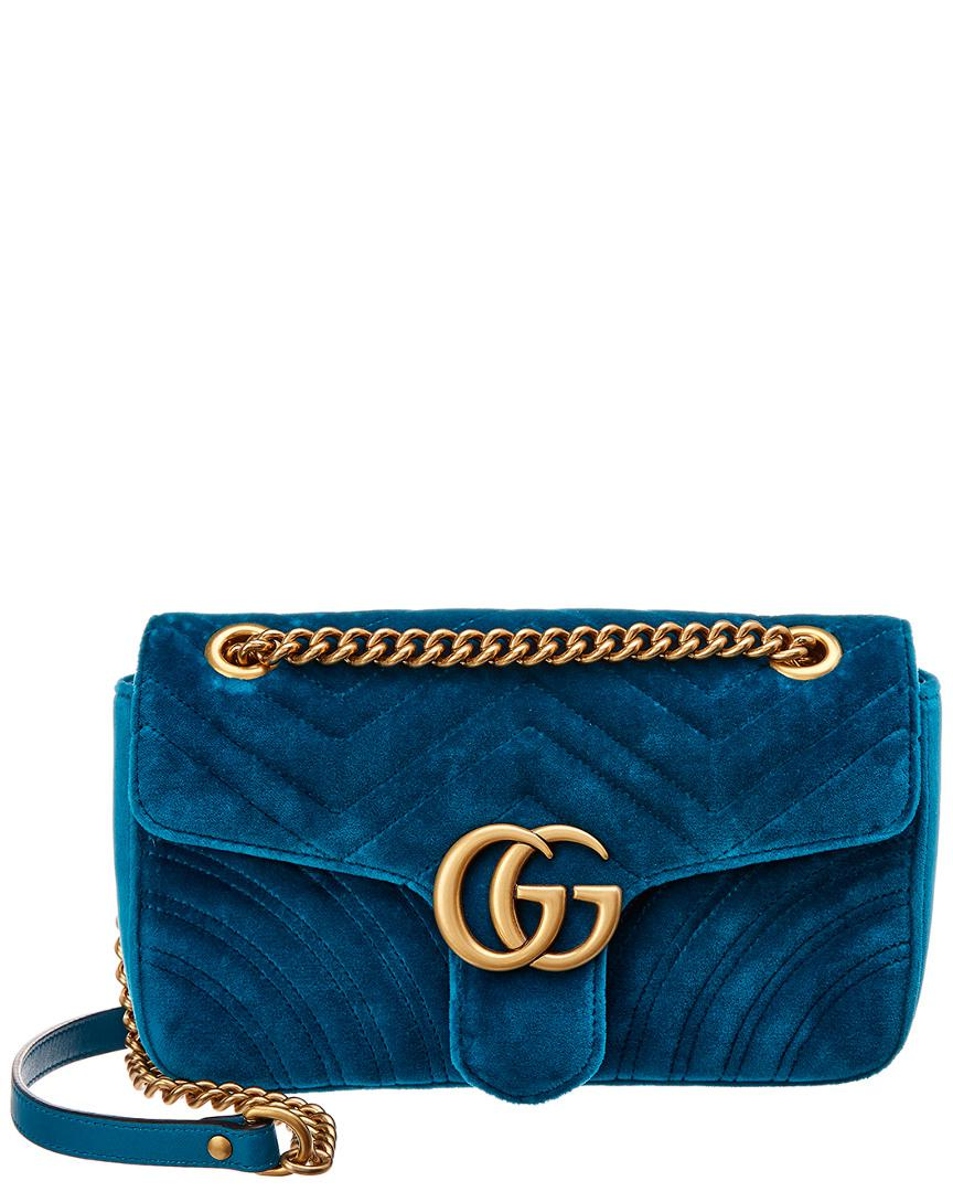 21566289495a4a Lyst - Gucci GG Marmont Small Quilted Velvet Shoulder Bag in Blue