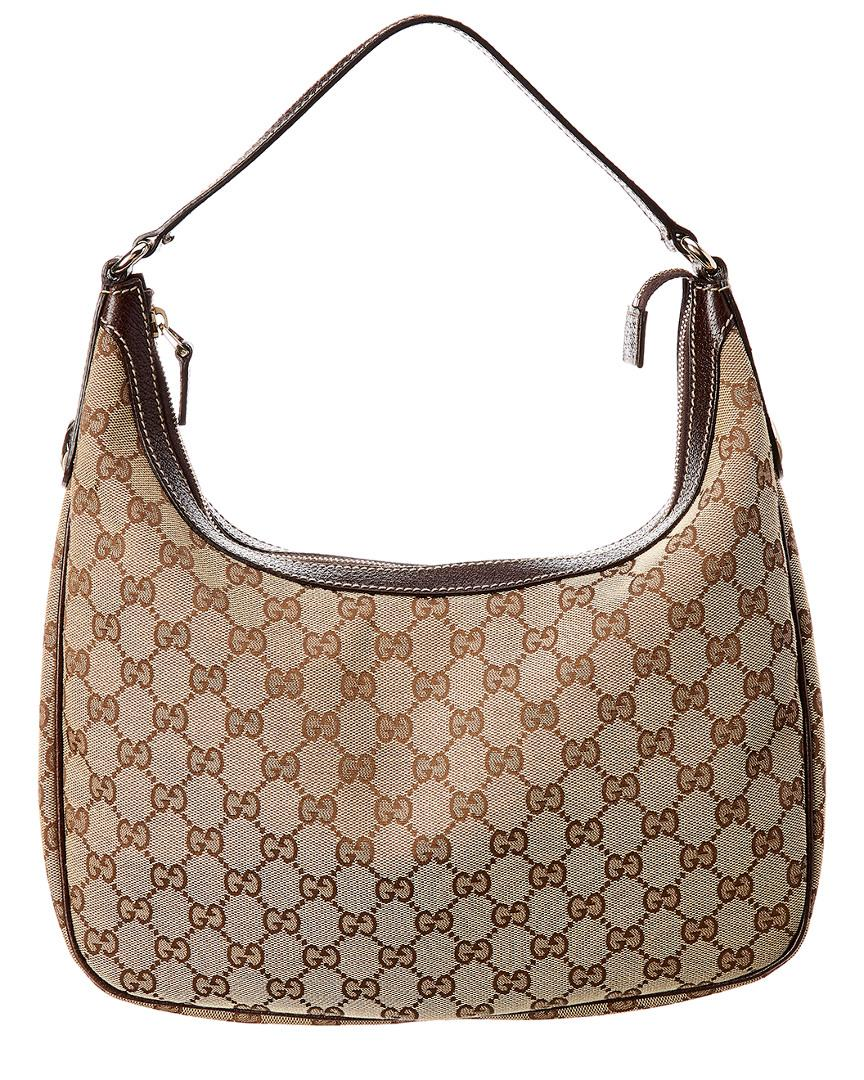 4e2b47a1f51 Lyst - Gucci GG Canvas   Brown Leather Shoulder Bag in Brown - Save ...