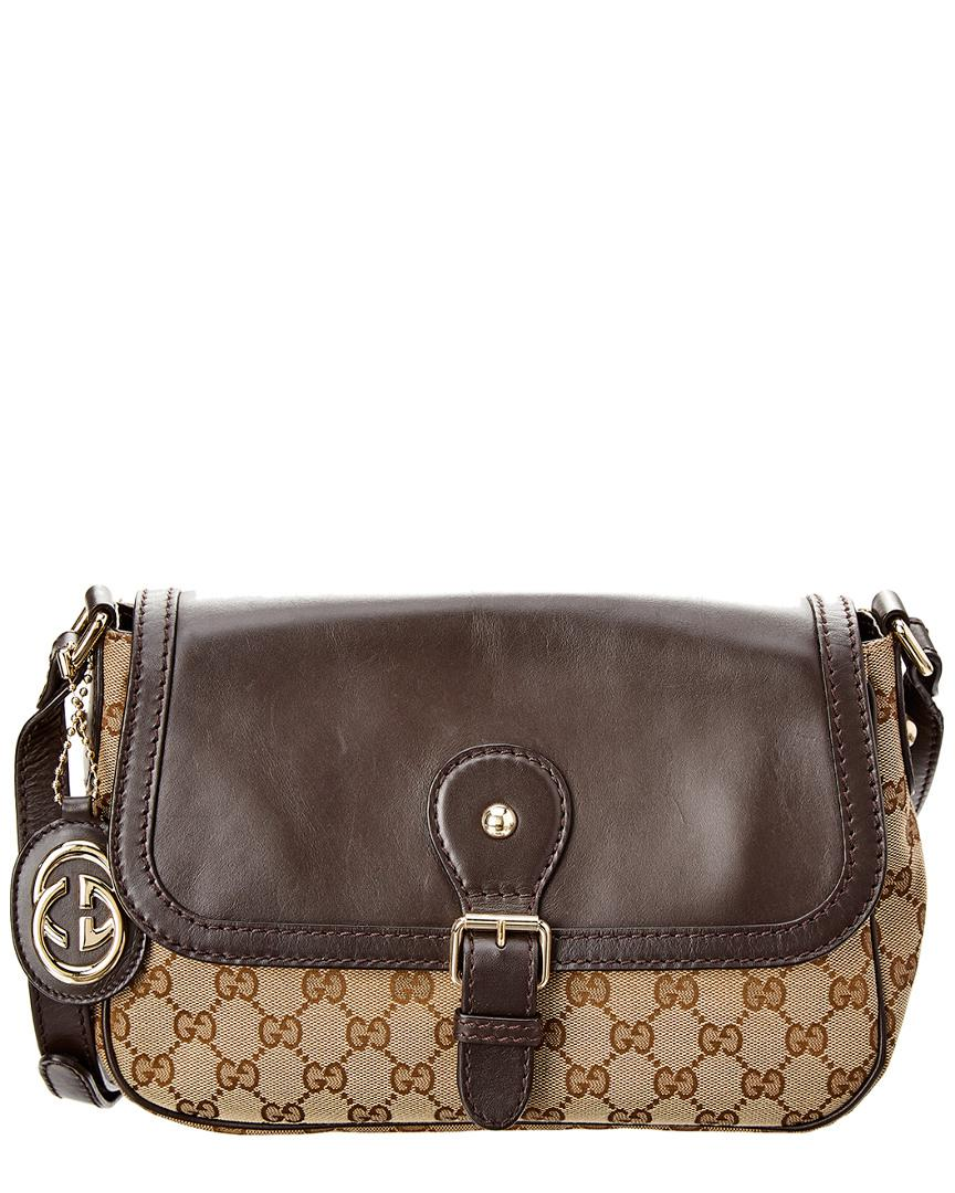 6c23aa77a5c Gucci Brown GG Supreme Canvas   Leather Shoulder Bag in Brown - Lyst
