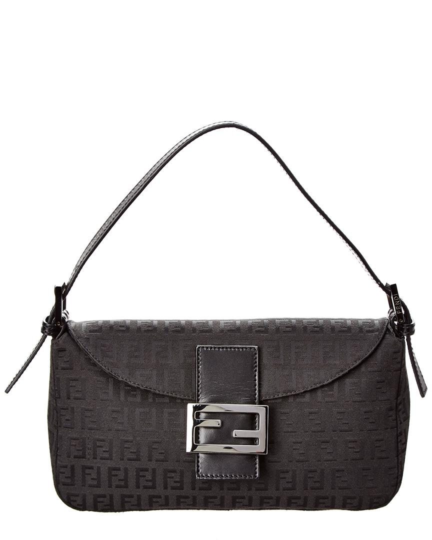 5cb83b41b494 Lyst - Fendi Black Zucchino Canvas Shoulder Bag in Black