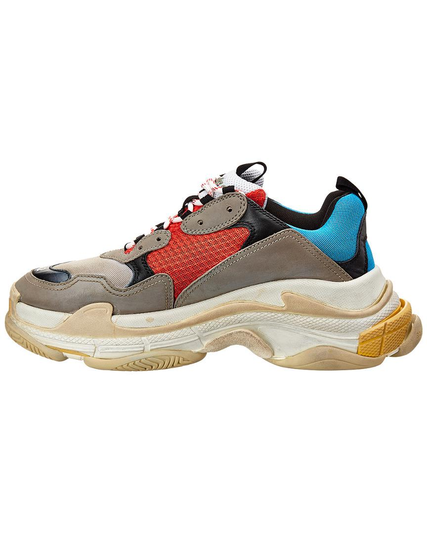 8f20c132cd62 Lyst - Balenciaga Leather   Mesh Sneaker in Gray for Men