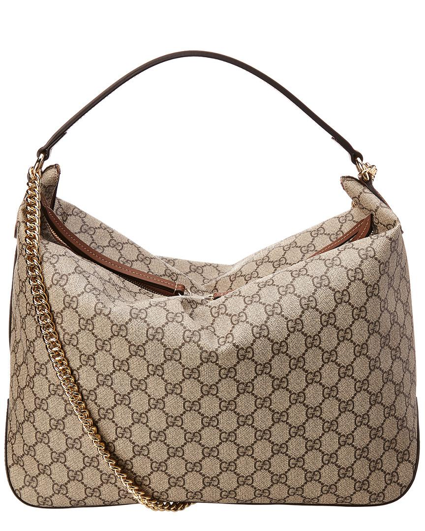 a8bcc17e370 Gucci GG Supreme Canvas   Leather Large Hobo in Brown - Lyst