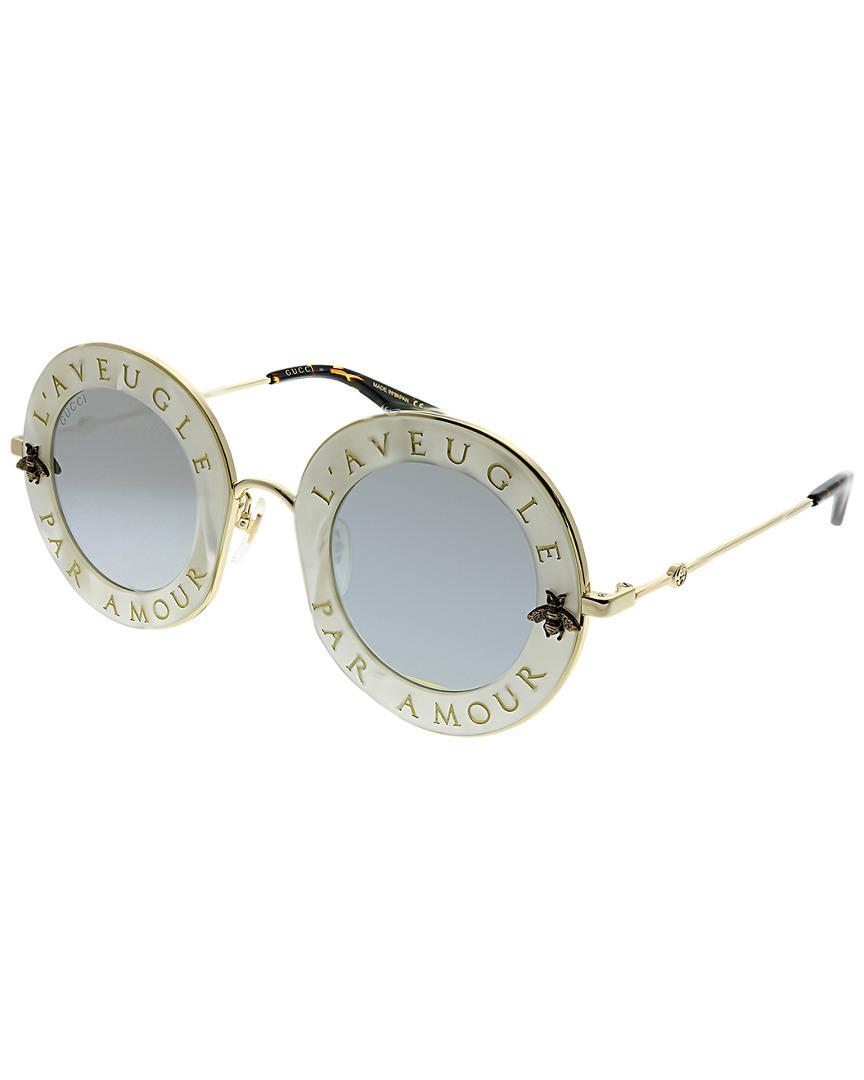 e9d1d589f88 Gucci - Metallic Round 44mm Sunglasses - Lyst. View fullscreen