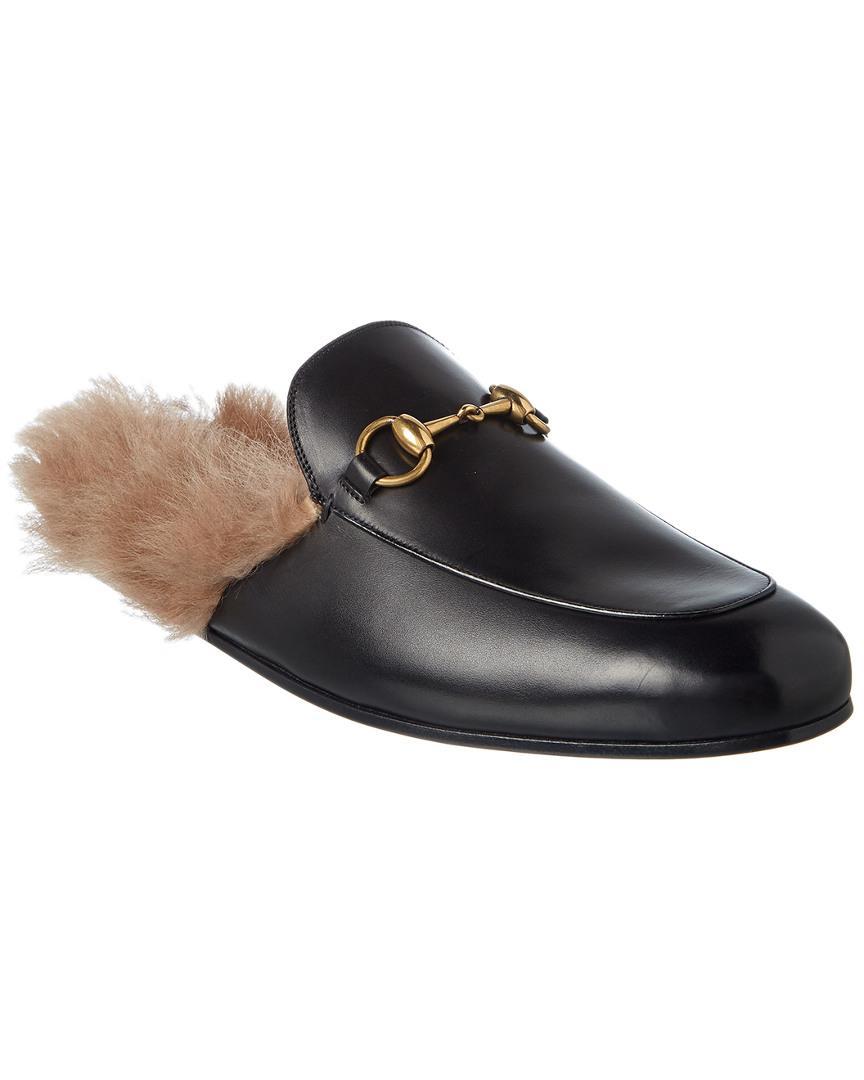 ff08294c292 Gucci Men s Princetown Fur-lined Calf Leather Mule Slipper in Black ...